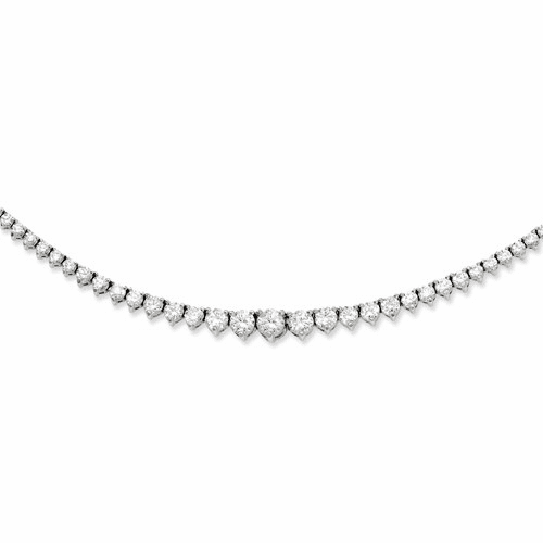 Sterling Silver Rhodium-plated 147 Stone Cz Necklace Qg3130-17