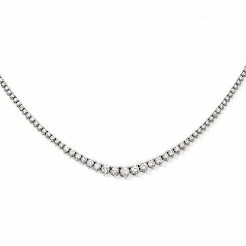 Sterling Silver Rhodium-plated 164 Stone Cz Necklace Qg3129-17