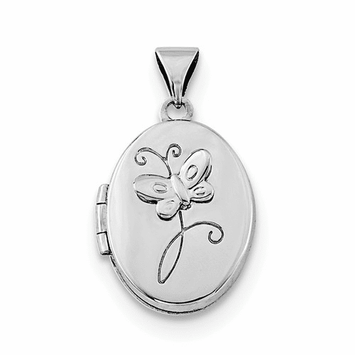 Sterling Silver Rhodium-plated 17x14mm Butterfly Locket Qls719