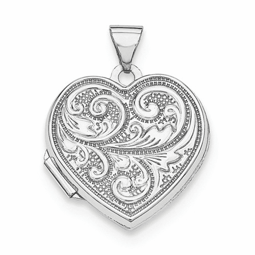 Sterling Silver Rhodium-plated 18mm Heart With Scrolls Locket Qls597