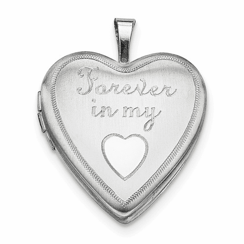 Sterling Silver Rhodium-plated 20mm Forever In My Heart Locket Qls315