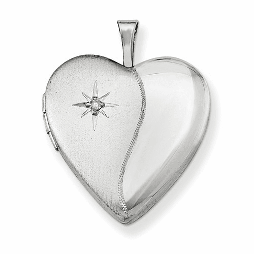 Sterling Silver Rhodium-plated 20mm With Dia. Star Heart Locket Qls338
