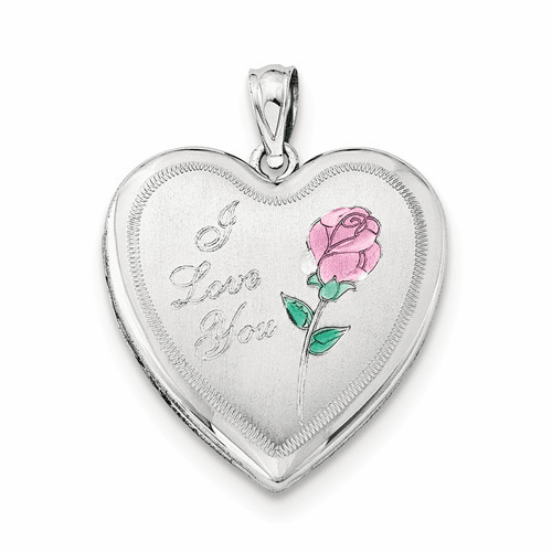 Sterling Silver Rhodium-plated 24mm Enameled Rose Heart Locket Qls305