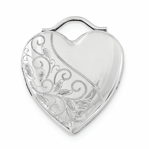 Sterling Silver Rhodium-plated 24mm Etched Heart Locket Qls698