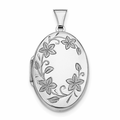 Sterling Silver Rhodium-plated 32mm Floral Oval Locket Qls8