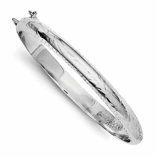 Sterling Silver Rhodium-plated 5mm Baby Hinged Bangle Bracelet Qb19