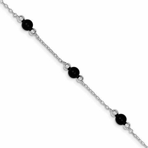 Sterling Silver Rhodium-plated 9inch Polished Onyx Anklet Qg1230-9