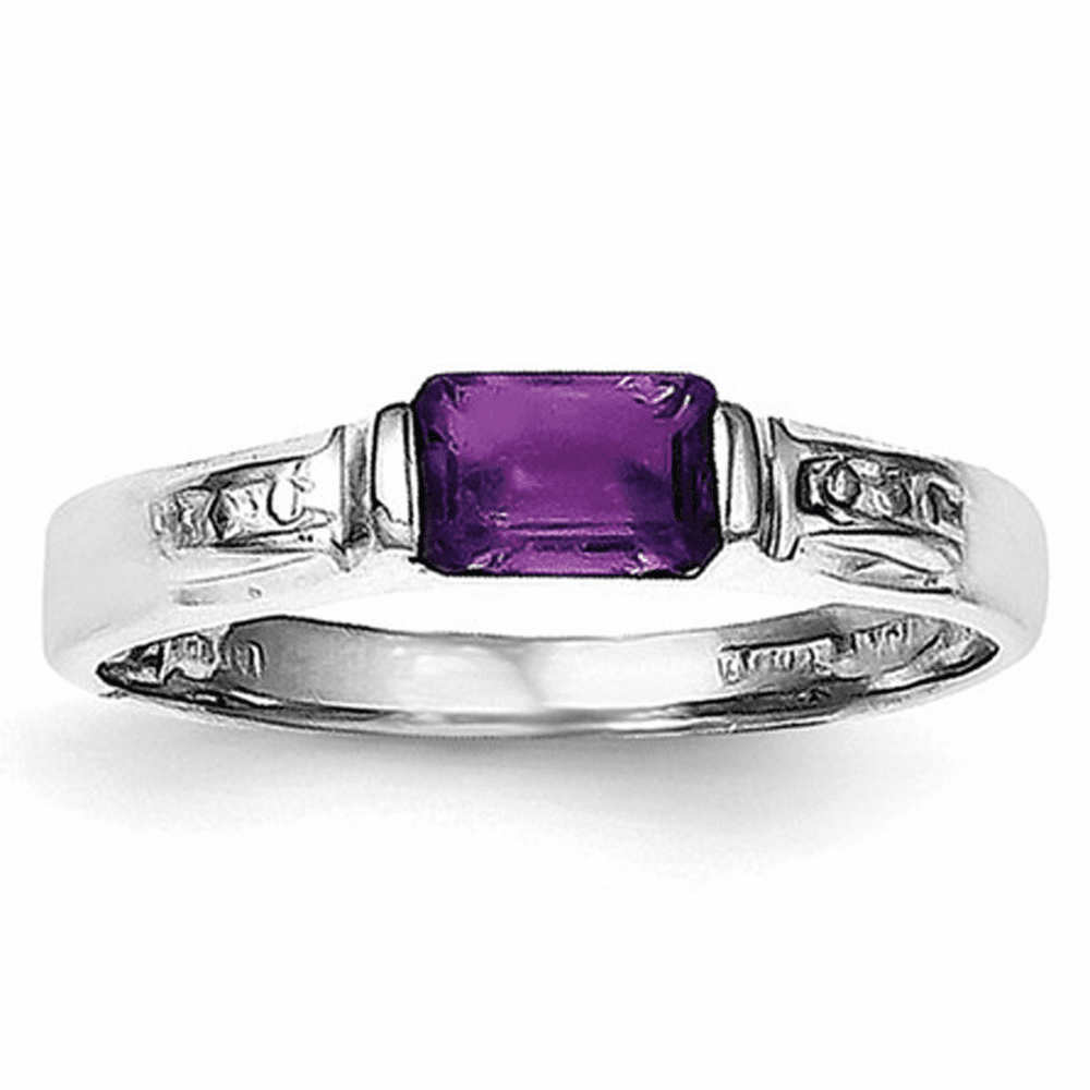 Sterling Silver Rhodium-plated Amethyst Ring Qr657-8