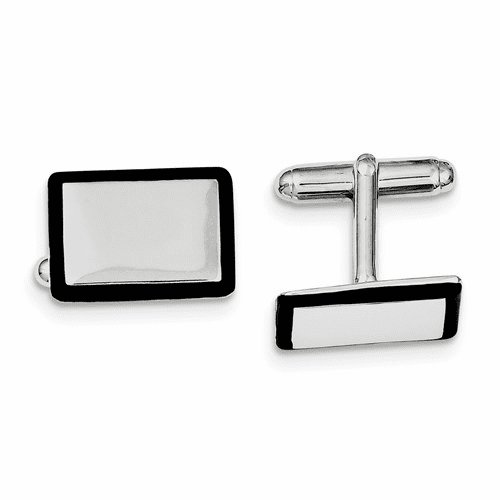 Sterling Silver Rhodium-plated And Black Enamel Cuff Links Qq433