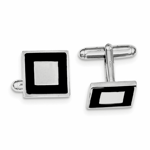 Sterling Silver Rhodium-plated And Black Enamel Cuff Links Qq436