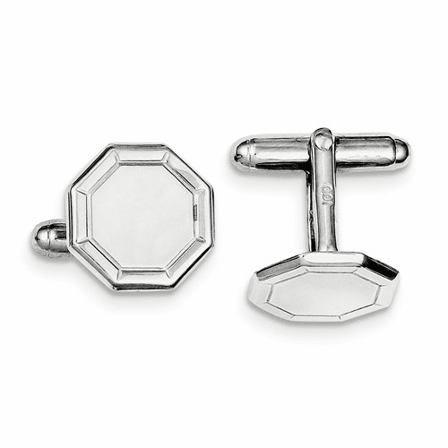 Sterling Silver Rhodium-plated And Cuff Links Qq431