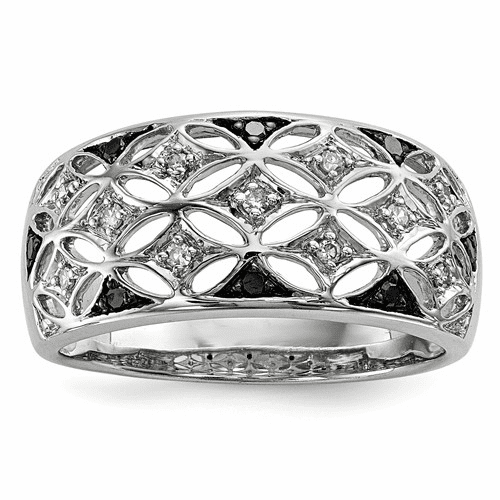 Sterling Silver Rhodium Plated Back & White Diamond Ring Qr5398-6
