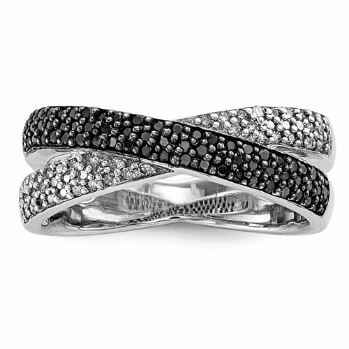 Sterling Silver Rhodium Plated Back & White Diamond Ring Qr5406-7