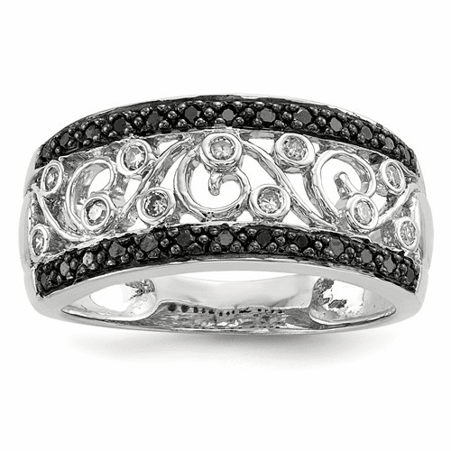 Sterling Silver Rhodium Plated Back & White Diamond Ring Qr5425-7