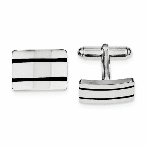 Sterling Silver Rhodium-plated Black Enameled Cuff Links Qq247