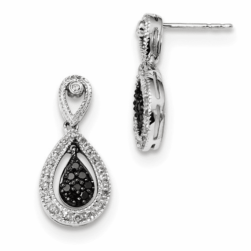 Sterling Silver Rhodium Plated Black & White Diamond Earrings Qe10851