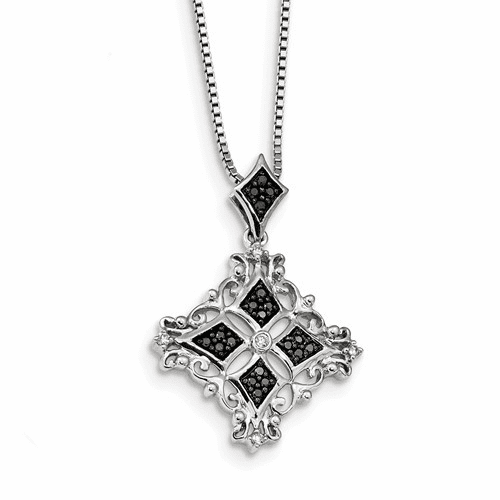 Sterling Silver Rhodium Plated Black & White Diamond Pendant Qp3835