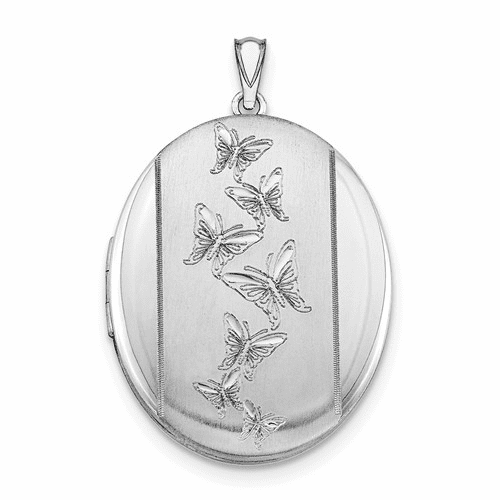Sterling Silver Rhodium-plated Butterflies 34mm Oval Locket Qls523