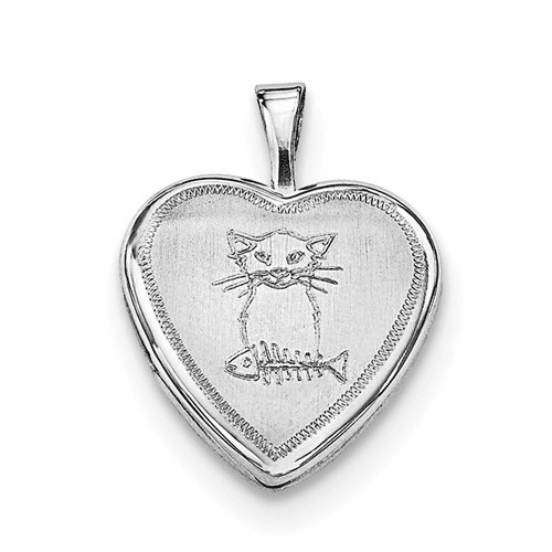 Sterling Silver Rhodium-plated Cat With Fish Heart Locket Qls619