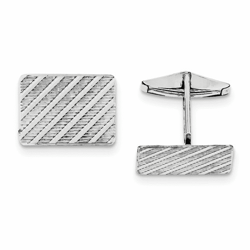 Sterling Silver Rhodium-plated Cuff Links Qq180