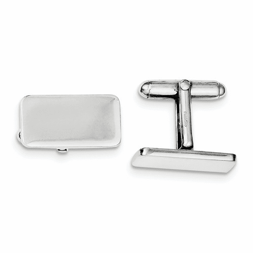 Sterling Silver Rhodium-plated Cuff Links Qq441