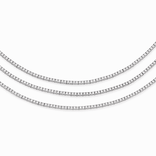 Sterling Silver Rhodium Plated Cz 3 Layered 16in Necklace Qg3493-16