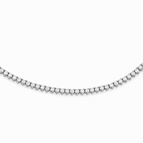 Sterling Silver Rhodium Plated Cz 36in Necklace Qg3484-36