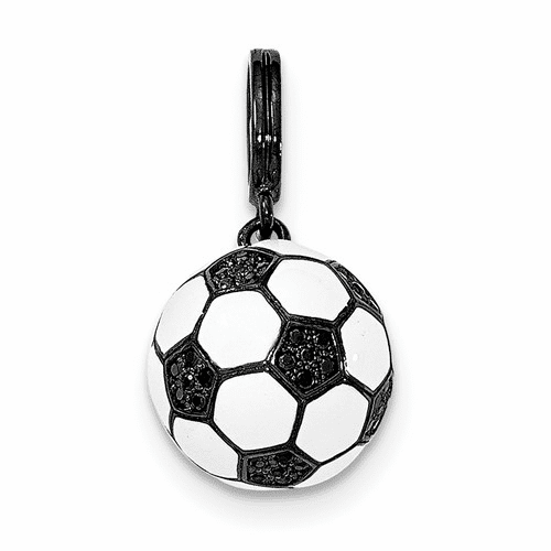 Sterling Silver Rhodium-plated & Cz 3d Soccer Ball Pendant Qc8838