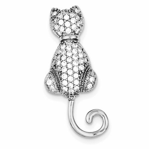 Sterling Silver Rhodium-plated Cz Cat Pin Qp892