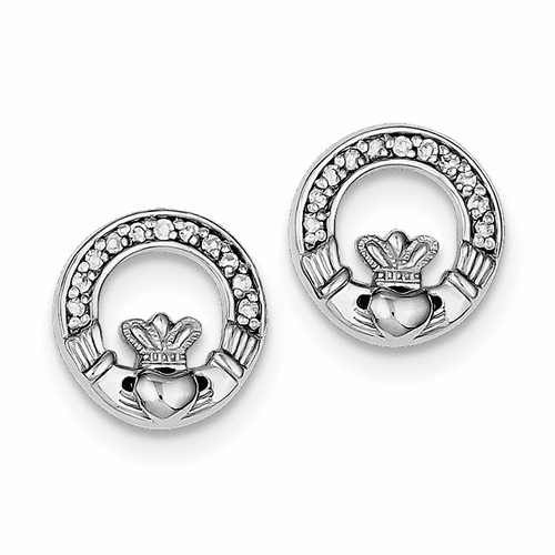Sterling Silver Rhodium Plated Cz Claddagh Post Earrings Qe9223
