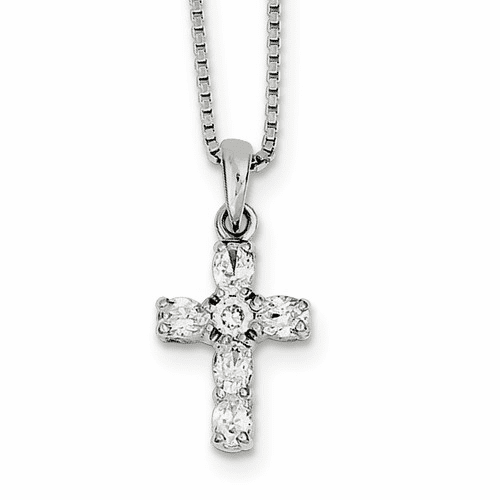 Sterling Silver Rhodium-plated Cz Cross Necklace Qh4976-16