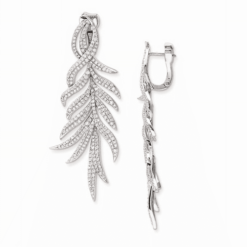 Sterling Silver Rhodium Plated Cz Hinged Earring Qe11290