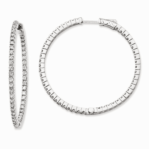 Sterling Silver Rhodium Plated Cz In And Out Hoop Earrings Qe11066