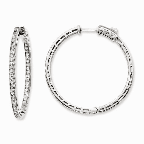 Sterling Silver Rhodium-plated Cz In And Out Hoop Earrings Qe11070