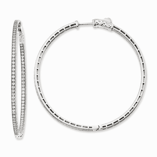 Sterling Silver Rhodium-plated Cz In And Out Hoop Earrings Qe11071