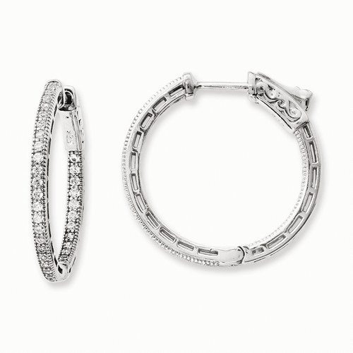 Sterling Silver Rhodium-plated Cz In And Out Hoop Earrings Qe11072