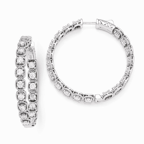 Sterling Silver Rhodium Plated Cz In And Out Hoop Earrings Qe11263