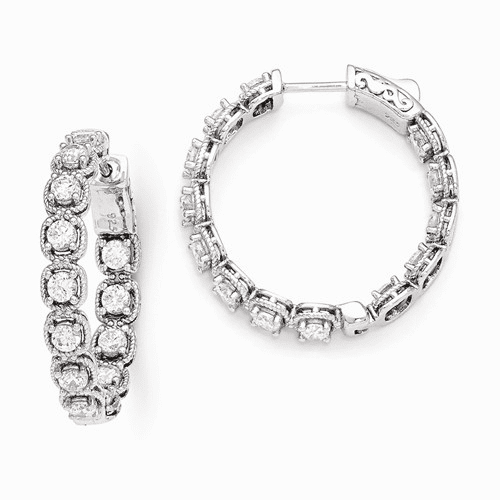 Sterling Silver Rhodium Plated Cz In And Out Hoop Earrings Qe11264