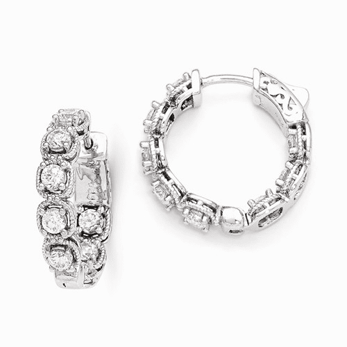 Sterling Silver Rhodium Plated Cz In And Out Hoop Earrings Qe11265