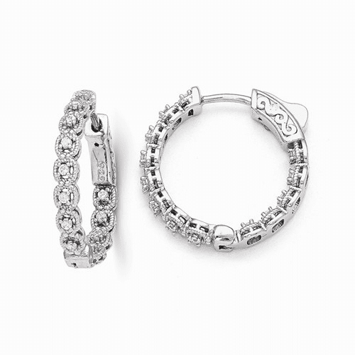 Sterling Silver Rhodium Plated Cz In And Out Hoop Earrings Qe11266