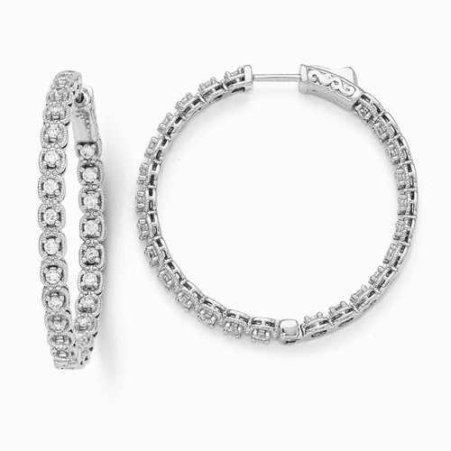 Sterling Silver Rhodium Plated Cz In And Out Hoop Earrings Qe11267