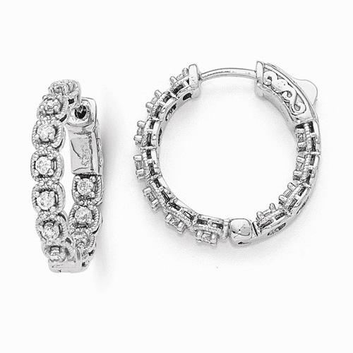 Sterling Silver Rhodium Plated Cz In And Out Hoop Earrings Qe11268