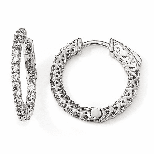 Sterling Silver Rhodium-plated Cz In & Out Hoop Earrings Qe12988