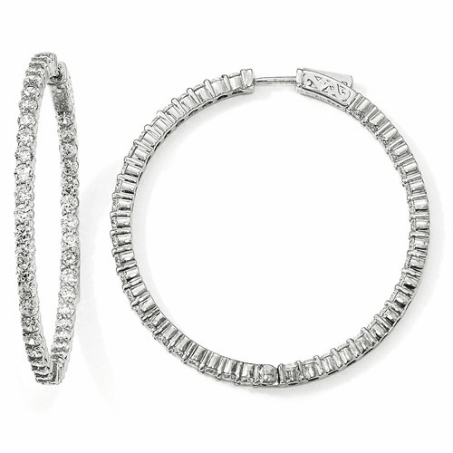 Sterling Silver Rhodium-plated Cz In & Out Hoop Earrings Qe12995
