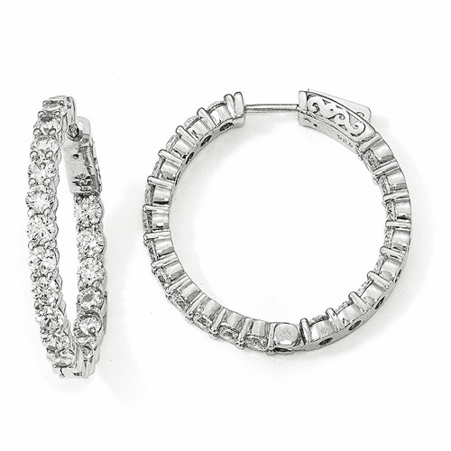 Sterling Silver Rhodium-plated Cz In & Out Hoop Earrings Qe12997