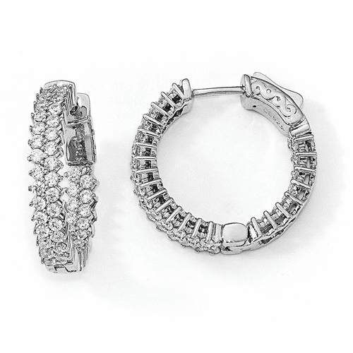 Sterling Silver Rhodium-plated Cz In & Out Hoop Earrings Qe13005