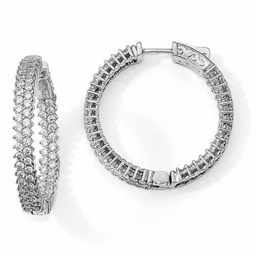 Sterling Silver Rhodium-plated Cz In & Out Hoop Earrings Qe13006