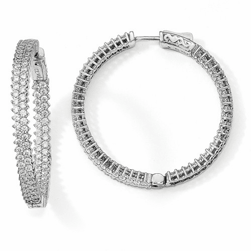 Sterling Silver Rhodium-plated Cz In & Out Hoop Earrings Qe13007