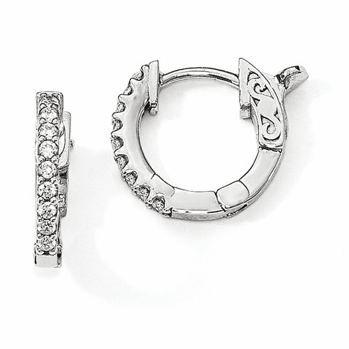 Sterling Silver Rhodium-plated Cz In & Out Hoop Earrings Qe13011