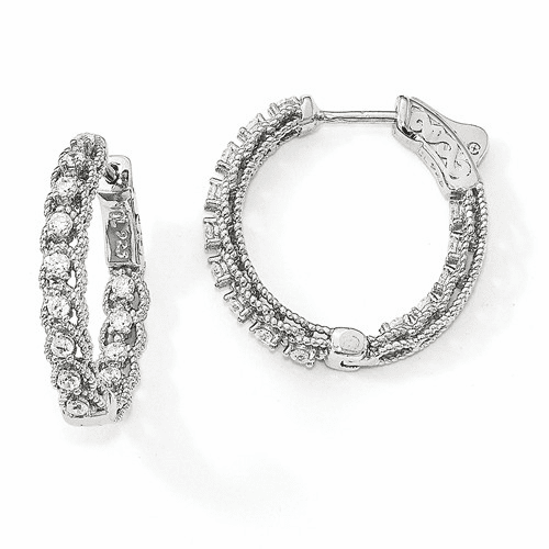 Sterling Silver Rhodium-plated Cz In & Out Hoop Earrings Qe13017